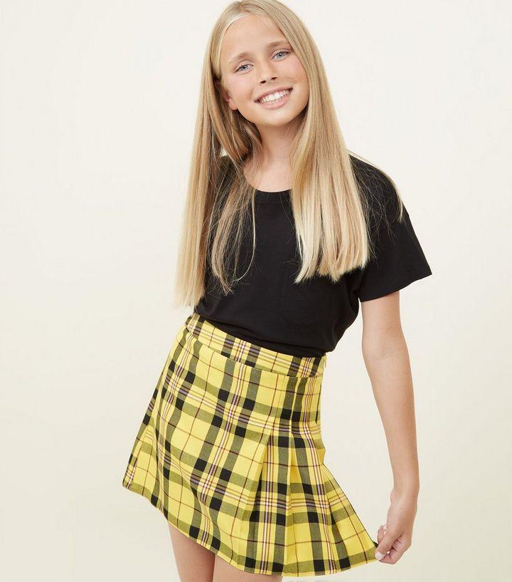 9c7a19123 Girls Yellow Tartan Pleated Skirt   New Look
