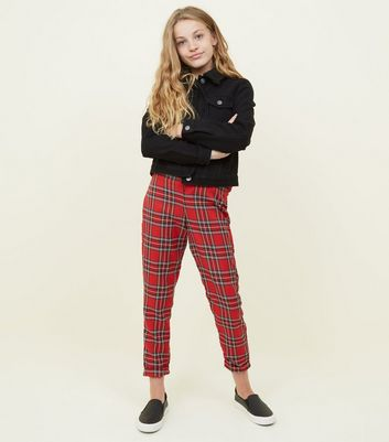 Girls Red Tartan Slim Leg Trousers