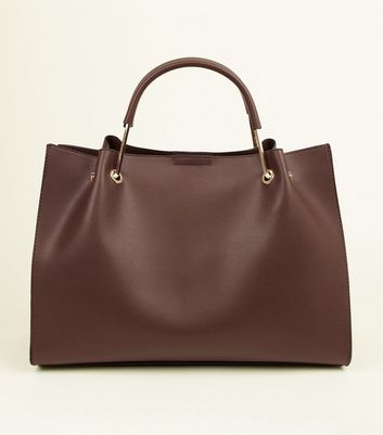 Dark Brown Metal Handle Tote Bag