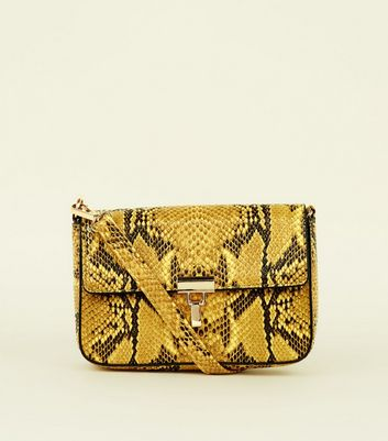 Mustard Faux Snake Cross Body Bag