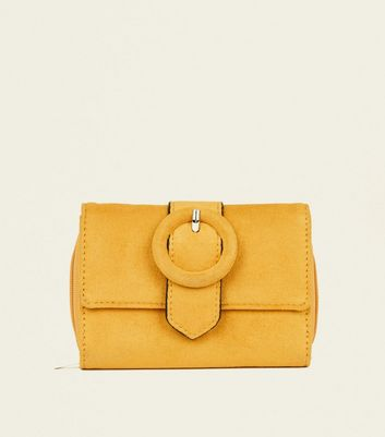 Mustard Suedette Ring Buckle Small Purse