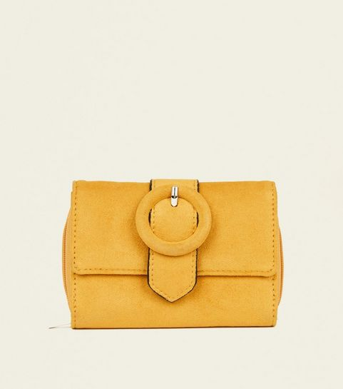 267b995f6621 ... Mustard Suedette Ring Buckle Small Purse ...