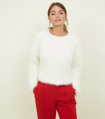 Cream Fine Knit Fluffy Jumper