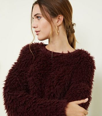 Burgundy Fine Knit Fluffy Jumper