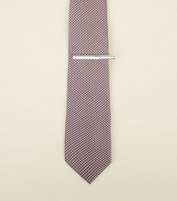 Pink Houndstooth Tie and Pin