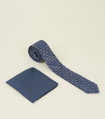 Blue Paisley Print Tie and Handkerchief
