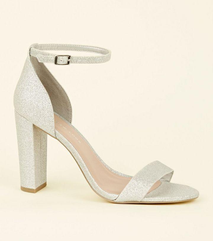 39d6fe77c216 Wide Fit Silver Glitter Block Heels