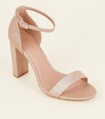 Wide Fit Rose Gold Glitter Block Heels
