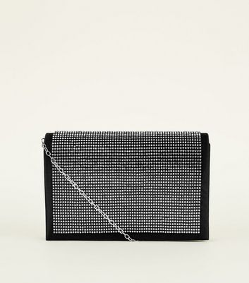 Black Satin Diamanté Clutch Bag