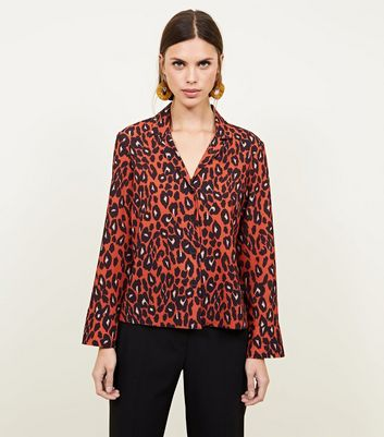 Brown Leopard Print Crepe Shirt