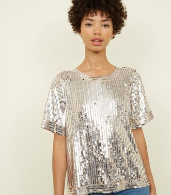 Silver All-Over Sequin Trim Detail T-Shirt