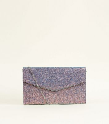 Lilac Iridescent Glitter V Front Clutch