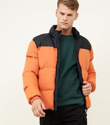 Orange Hooded Colour Block Puffer Coat
