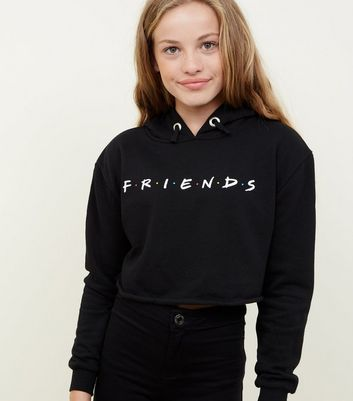 Girls Black Friends Slogan Hoodie