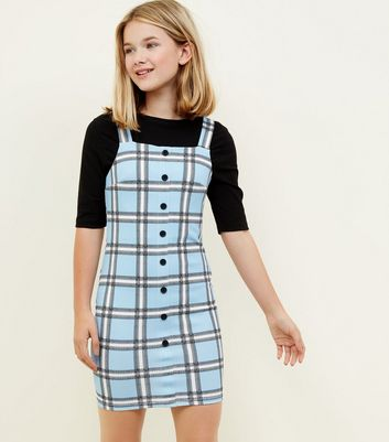 Girls Blue Check Button Front Bodycon Pinafore Dress