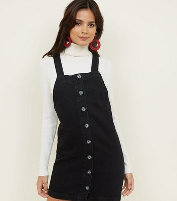 Black Button Front Denim Pinafore Dress