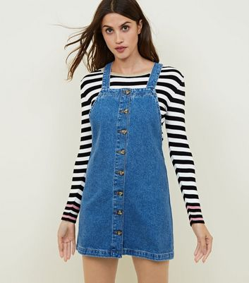 Blue Denim Button Through Front Pinafore Dress