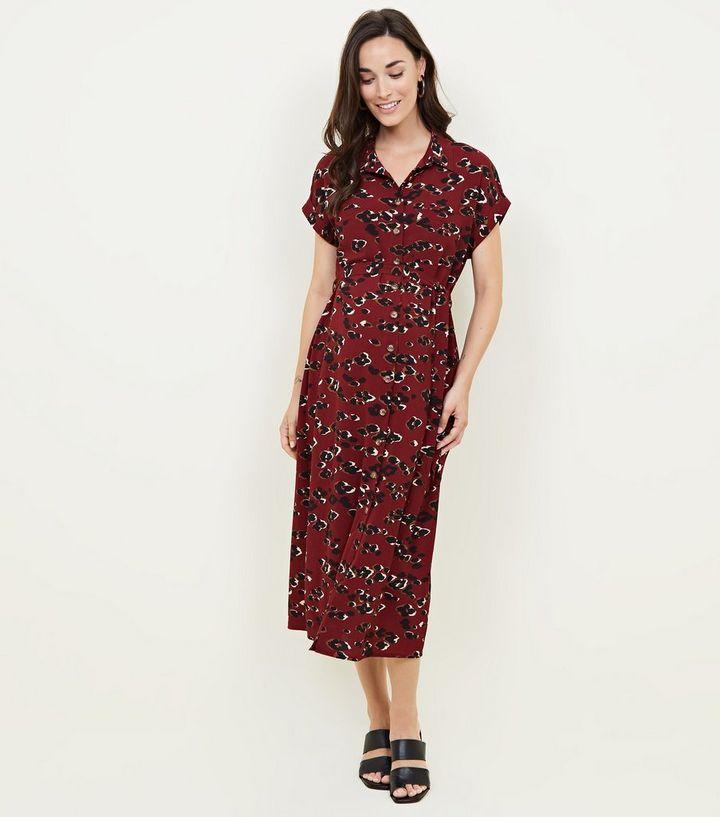 d93e31dde1b219 Maternity Red Camo Leopard Print Midi Shirt Dress | New Look