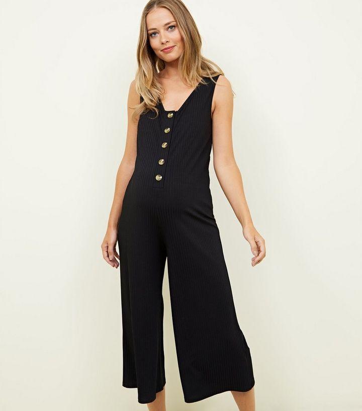 e8cc530b78f Maternity Black Button Front Culotte Jumpsuit | New Look