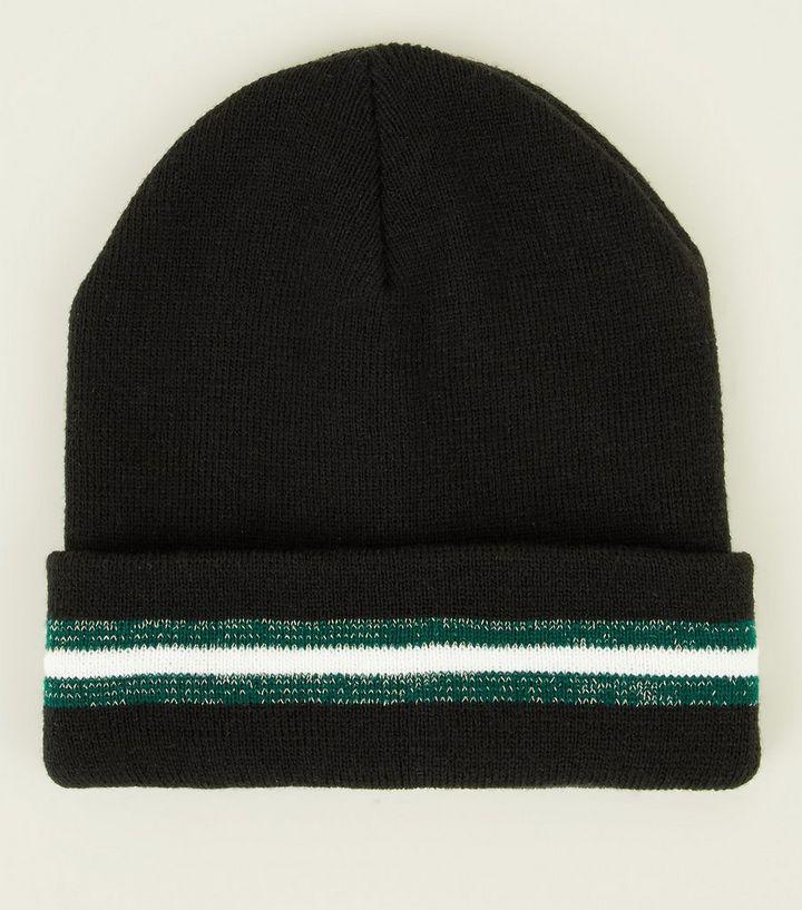 80cc2dda5f6 Black Glitter Stripe Beanie Hat