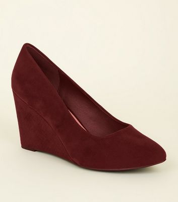 Wide Fit Dark Red Faux Snake Wedge Heel Courts