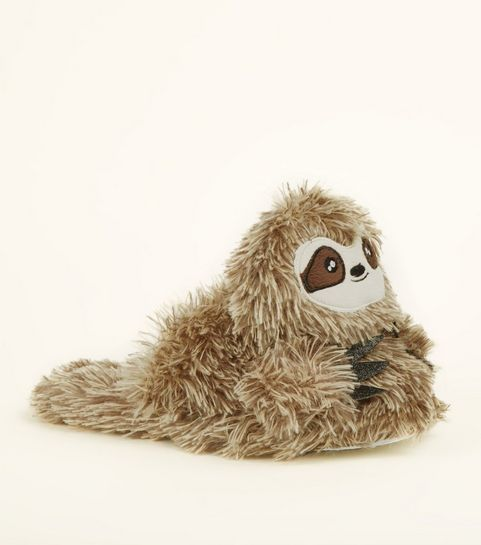 4388b892f7d ... Light Brown Faux Fur Sloth Slippers ...