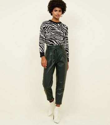 Dark Green Leather-Look Paperbag Trousers
