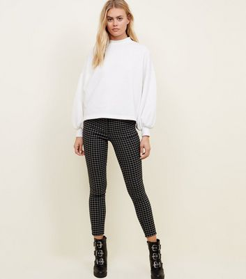 Black Grid Check Slim Leg Trousers