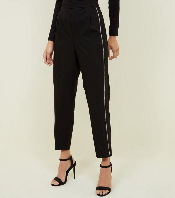 billigsten Verkauf 2019 echt das Neueste Schwarze Tapered Hose mit seitlichen Streifen und Strass Für später  speichern Von gespeicherten Artikeln entfernen