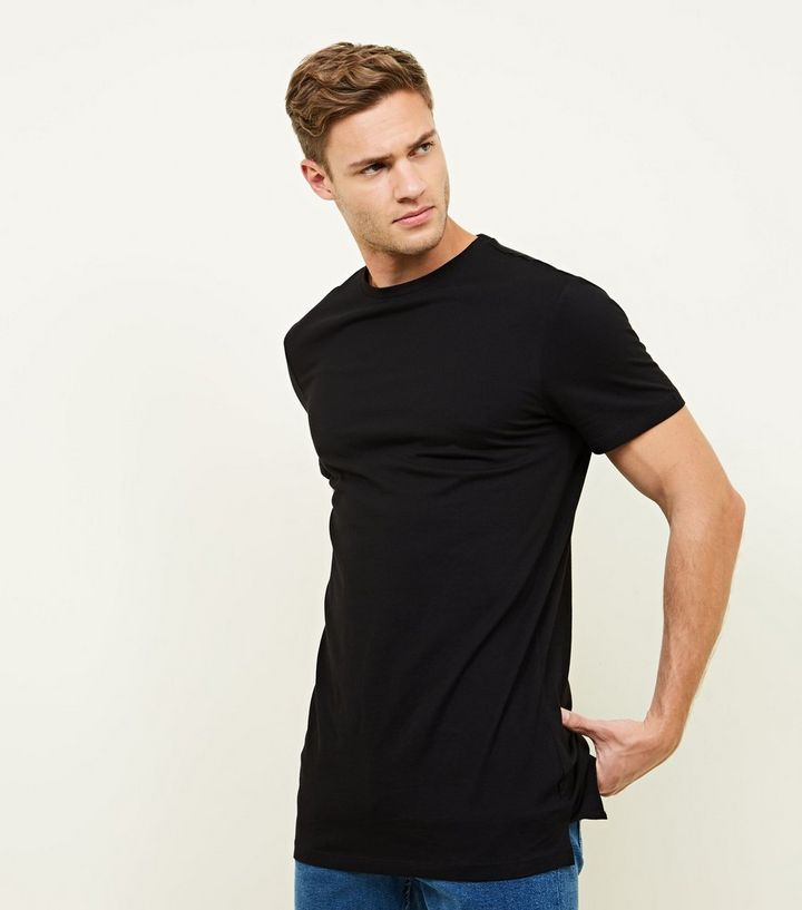 a3134f70 Black 3 Pack Longline T-Shirts   New Look