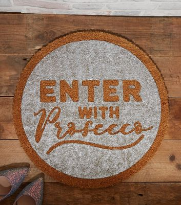Silver Enter With Prosecco Doormat
