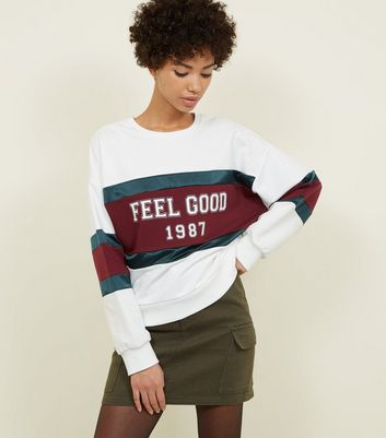 White Feel Good Slogan Colour Block Sweatshirt