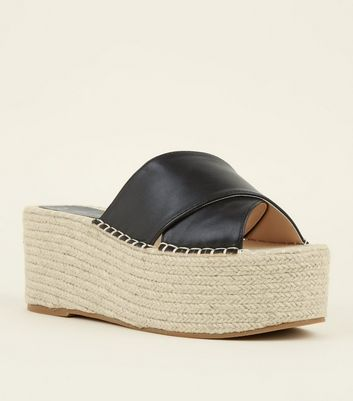 Black Leather-Look Flatform Espadrille Sliders