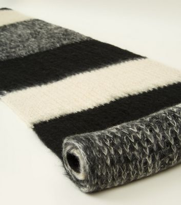 Black Colour Block Extra Long Knit Scarf