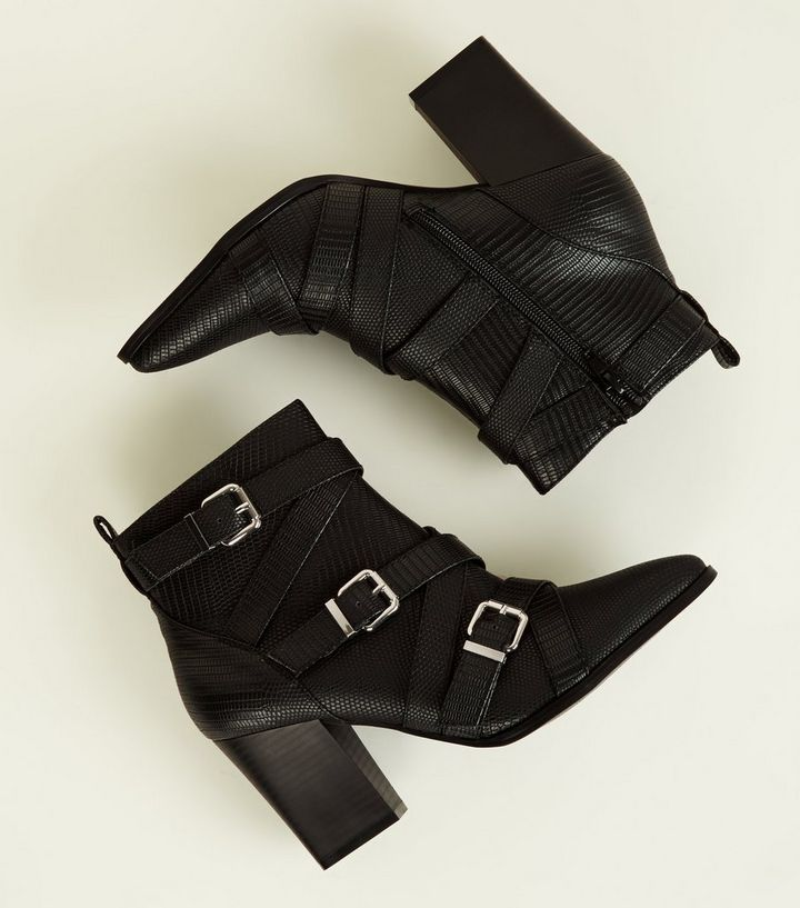 de0a8087beb Black Faux Snake Strappy Western Ankle Boots Add to Saved Items Remove from  Saved Items