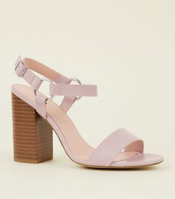 Lilac Leather-Look Ring Strap Block Heels