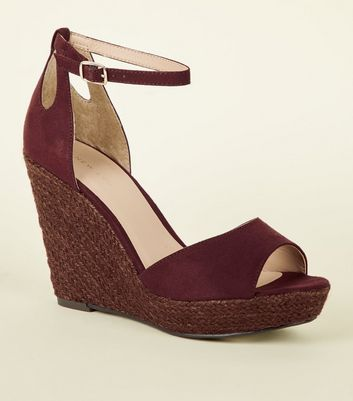 Dark Red Suedette Espadrille Wedges