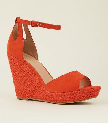 Orange Suedette Espadrille Wedges