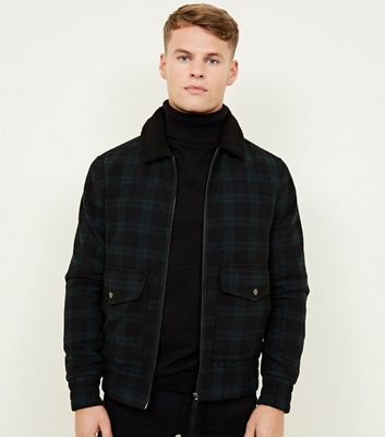 Dark Green Check Borg Collar Aviator Jacket