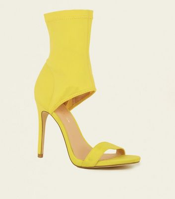 Yellow Scuba Ankle Strap Two Part Stiletto Sandals