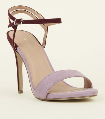 Lilac Contrast Suedette Strappy Barely There Heels