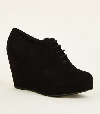 Black Comfort Suedette Lace Up Wedges