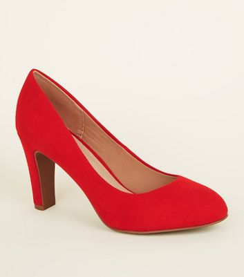 Red Comfort Flex Suedette Block Heel Courts