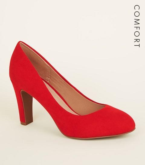 23f0c5009c4 ... Red Comfort Flex Suedette Block Heel Courts ...