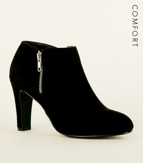e5294f7a364 ... Black Comfort Flex Suedette Zip Side Shoe Boots ...