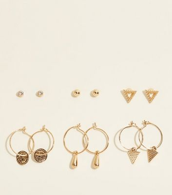 6 Pack Gold Charm Hoop and Stud Earring Pack