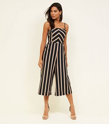 Brown Stripe Scuba Wide Leg Jumpsuit