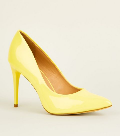 yellow patent pointed stiletto courts new look