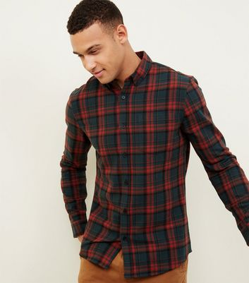Dark Red Highlight Check Long Sleeve Shirt