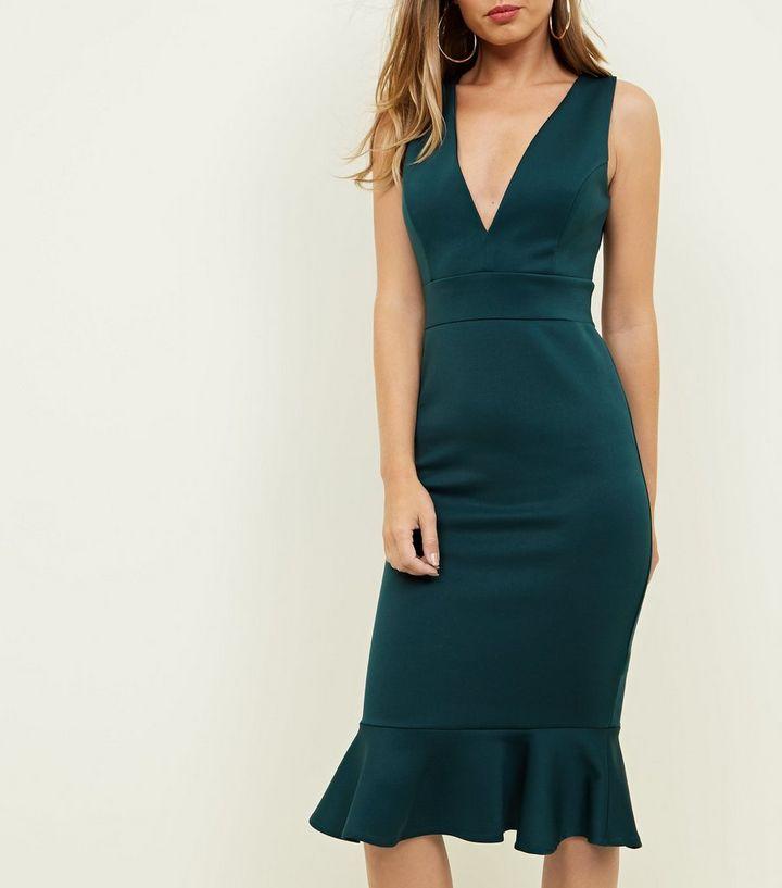Dark Green Plunge Neck Frill Hem Dress  7c633ce19